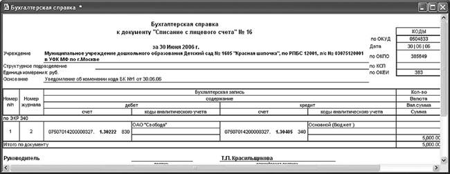 бухгалтерская справка форма 0504833 бланк